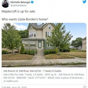 未解決事件の容疑者だったリジー・ボーデンの終の棲家が販売中 事故物件ではありませんのでご安心を