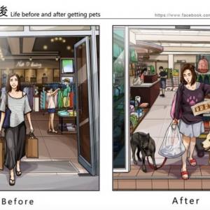 台湾のイラストレーターが描く、ペットを飼い始める前と後のビフォーアフター
