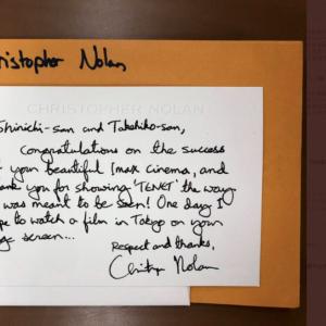 池袋・グランドシネマサンシャインにノーラン監督直筆の手紙届く「『TENET テネット』を本来あるべき最高の状態で上映頂いたこと、心から感謝いたします」