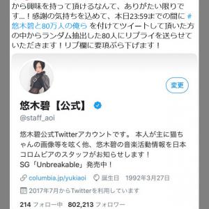 悠木碧さんのTwitterフォロワー数が80万人を突破!感謝企画のハッシュタグ「悠木碧と80万人の俺ら」がトレンド入り