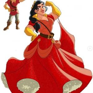 ディズニーヴィランズをディズニープリンセス化したイラスト 「マレフィセントをプリンスとして描いて欲しいわ」「ガストンが怖い」
