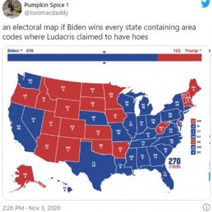 大統領選の州別勝敗地図を使ったジョークが出回る トランプ大統領の息子が投稿したのは……