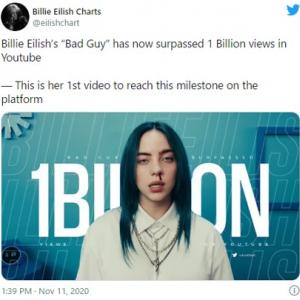 ビリー・アイリッシュの「bad guy」がYouTubeでの再生回数10億回突破 「10億回を突破したアーティストの最年少記録だ」「2年弱も時間がかかったのが不思議」