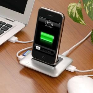 SDカードリーダーとUSBハブ付き『iPhone/iPod』多機能ドック・ステーション