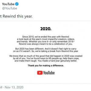 YouTubeが2020年の「YouTube Rewind」の中止を発表