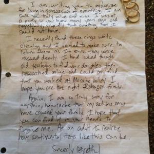 15年前に盗まれた結婚指輪 謝罪文と共に15年ぶりに返却される