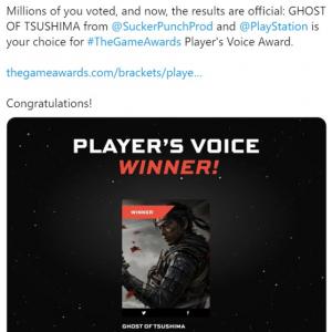 """「The Game Awards 2020」で『Ghost of Tsushima(ゴースト・オブ・ツシマ)』が「Player's Voice Award」を受賞 「プレイヤーが選んだ""""Game of the Year""""ってことだよ」「史上最高のサムライゲームかもしれない」"""