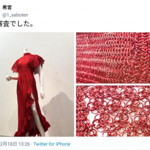 「めちゃくちゃ素敵」「美しすぎる鎖帷子」 金沢美大生の卒業制作アルミ製の真紅のドレスに驚きの声