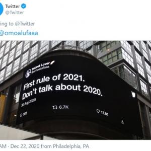 Twitter社が厳選した2020年についてのツイートが屋外広告に 「予告編を観るまでは2021年を迎えたくない」「2021年の最初のルール。2020年のことは語るな」