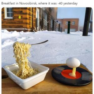 これがマイナス40度の世界です 「-1度でさえ寒すぎるのに」「ベーコンとチーズ足せばフローズン・カルボナーラ」
