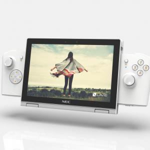 PCエンジンかな? NECがゲームパッドを装着したり据え置きゲーム機として使える8インチゲーミングPC「LAVIE MINI」をCES 2021で参考展示