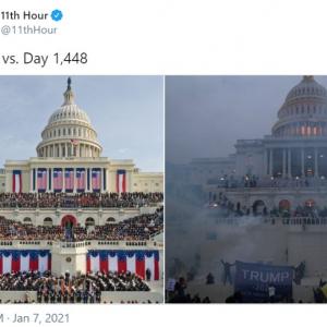 トランプ政権の始まりと終わりが話題を呼ぶ 「どちらもアメリカにとって悲しい日」「で、アメリカはまた偉大な国になれたんだっけ?」