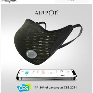 CES 2021で注目を集めたスマートマスク「AirPop Active+」 装着者の呼吸データと周辺の空気データを測定