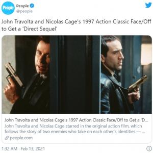 『フェイス/オフ』続編が脚本執筆中 「ジョン・トラボルタとニコラス・ケイジが出ないなら観ない」「リメイクとか続編とかもうお腹一杯」