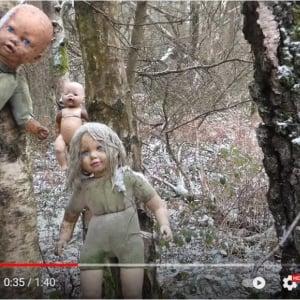 日が暮れてからは絶対行きたくない イギリスの森の中で木に打ち付けられた多数の人形が発見される