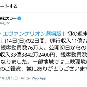 「シン・エヴァンゲリオン劇場版」公開初日からの7日間で興行収入33億円 観客動員219万人を突破!
