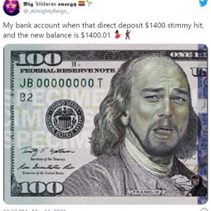 Twitterで盛り上がりを見せる1400ドルの給付金をネタにしたジョークツイート