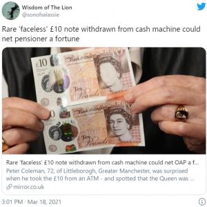 エリザベス女王の顔が印刷されていない10ポンド紙幣が見つかる →オークションに出品へ 「誰がどのくらいの値段をつけるか楽しみだ」「最低入札価格はやっぱり10ポンド?」