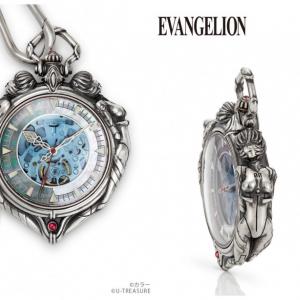 「ふたりのレイ」を立体的にデザイン『エヴァンゲリオン 綾波レイ 懐中時計』36万円 チェーンは「カシウスの槍」「ロンギヌスの槍」をイメージ