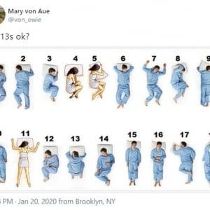 あなたの寝相はどれ? 「8番とかあり得ない」「10番は死後3時間経過した死体」