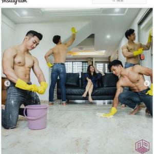 マッチョな男性が上半身裸で掃除するサービス、シンガポールに登場 「担当者の指名は可能ですか?」「床が汗だらけになりそうね」