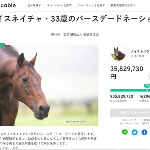 「ナイスネイチャ・33歳のバースデードネーション」キャンペーン無事終了!3500万円を超える支援が集まる