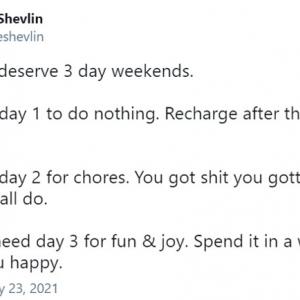 週休3日を求めるツイートに共感集まる 「週40時間労働とか働きすぎなんだよ」「週3日勤務(=週休4日)でもいいくらいだ」