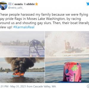 プライド・フラッグを掲げた家族に嫌がらせをしてきたボートに天罰が下る 「漫画みたいなオチ」「ポセイドンもお怒りです」