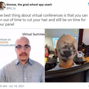 オンライン会議のメリットと言えば? 「後頭部が西半球」「この状態でカメラの前には座れないな」