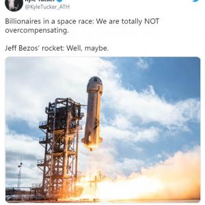 Twitter上でネタと化したジェフ・ベゾスの「ニューシェパード」打ち上げ