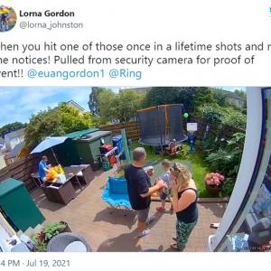 お父さんが人生に1回あるかないかというシュートを決めたのに目撃者は監視カメラだけ 「笑ってから一気に悲しくなる動画」「父親って切ないよね」