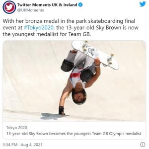 """""""最年少メダリスト""""としてイギリスで注目を集めるスカイ・ブラウン選手 「笑顔は金メダル級」「パリでも期待しています」"""