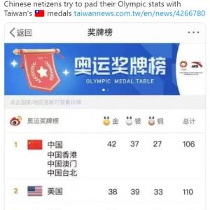 東京五輪の国別メダルランキングでトップに立つため台湾、香港、マカオまで加えちゃった中国ネットユーザー 「子どもっぽいよな」「恥ずかしくないの?」