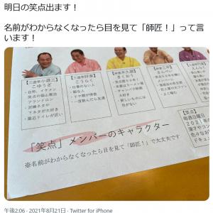 「名前がわからなくなったら目を見て『師匠!』って言います!」フワちゃんが「笑点」メンバーのキャラクター表をTwitterに投稿し反響