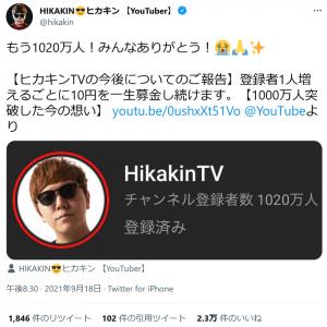 YouTubeチャンネル登録者数1000万人突破のヒカキンさん「登録者1人増えるごとに10円を一生募金し続けます」