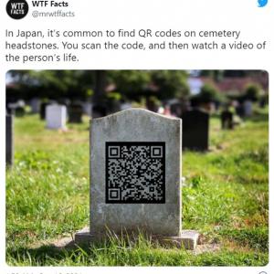 「日本では墓石にQRコードが付いているのが普通です」というツイートに対する海外の反応 「死後のデジタル世界」「QRコードを読み取ると故人と話せるとか?」