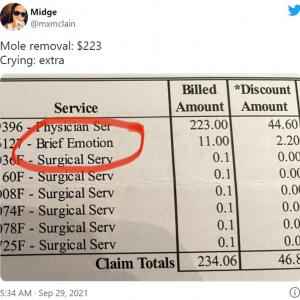 ほくろ除去の手術中に泣いたら加算されてしまった医療費明細書 「どれだけ泣いたのかしら」「2.2ドルの割引も意味不明」