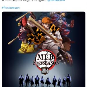 メジャーリーグのポストシーズン開幕に合わせて『鬼滅の刃』風ポスターが登場 「MLBの試合が『鬼滅の刃』くらい面白ければいいんだけど」「大谷効果?」