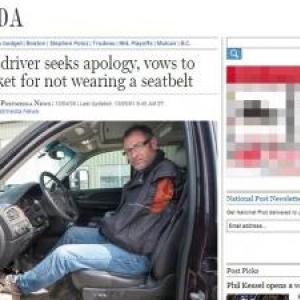 カナダ警察、両腕のない運転手をシートベルト着用義務違反で処分