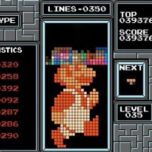 テトリスのブロックでマリオやリンクのドット絵を作る凄い動画! 2111個のブロックを使用し387ライン消して完成