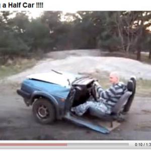 真っ二つになった自動車を運転する動画が話題に