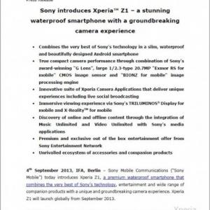 """Xperia Z1""""Honami""""のプレスリリース文書が製品発表前に流出、5インチフルHDディスプレー、Snapdragon 800、2070万画素カメラ、IP58レベルの防水・防塵に対応"""