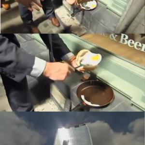 ロンドンに建てられた車も溶かすビルで目玉焼きを焼く実験! 実際に焼けるのか?