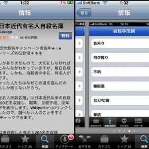 iPhoneアプリ『有名人自殺名簿』が登場 / 自殺方法別でリストアップも