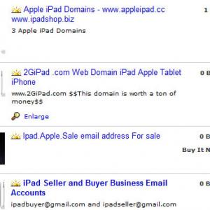 早くもiPad便乗ビジネス激化! iPad関連ドメインやメールの販売