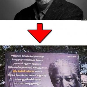 マンデラ大統領追悼看板がインド南部に立てられる 使われていた写真が何故かモーガン・フリーマン 壁紙サイトも公開