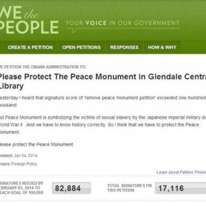 韓国が「グレンデールにある慰安婦像を撤去させるな」と対抗署名開始! 既に1万7000人が署名