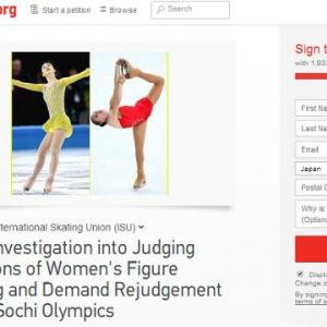 【ソチ五輪】キム・ヨナの銀メダルに不服 再調査の署名が集まりISU国際スケート連盟が「調査を行う」とするもIOCは拒否