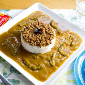 【お取り寄せ】沖縄名物がひとつになった『タコライス&ゴーヤーカレー』! ゴーヤーの苦味とメキシカンなミンチを混ぜて旨さ倍増!