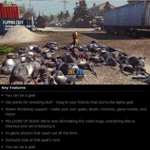 ヤギになれる馬鹿ゲーム『Goat Simulator』の説明が酷い! 「ヤギになれる」「数何百万のバグ」と説明まで馬鹿面白い